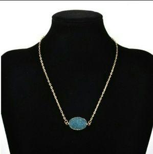 Blue Druzy Necklace